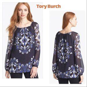 Tory Burch 'Lisa' Print Silk Blouse Sz10
